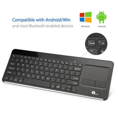 Wireless Bluetooth QWERTY Keyboard with Built-in Multi-touch Touchpad - Black