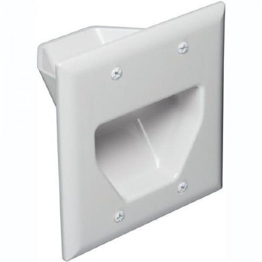 2-Gang Recessed Low Voltage Cable Pass Through Wall Plate - White, Wallplates, Data Comm - TiGuyCo Plus