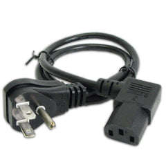 3 ft. Grounded Power Cord - 10A - 125V - 18Ga - Right Angle Plug on Both Ends - Black
