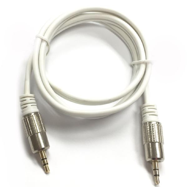 3 ft. Shielded Heavy Duty 3.5mm Stereo Cable - Male/Male - Platinum Series - White, Audio Cables & Adapters, TechCraft - TiGuyCo Plus