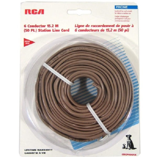 50 ft. RCA 6-Conductor Round Insulated Telephone Station Line Cord - Brown
