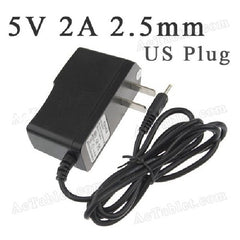 5V - 2A Power Supply Charger for Hipstreet Tablet PC - 2.5mm Male Round Connector