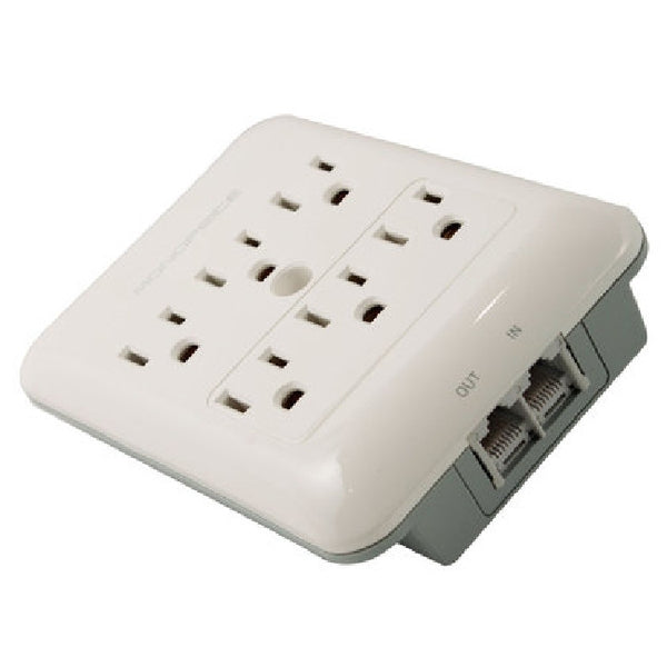 6 Outlet Slim Surge Protector Wall Tap With Telephone And