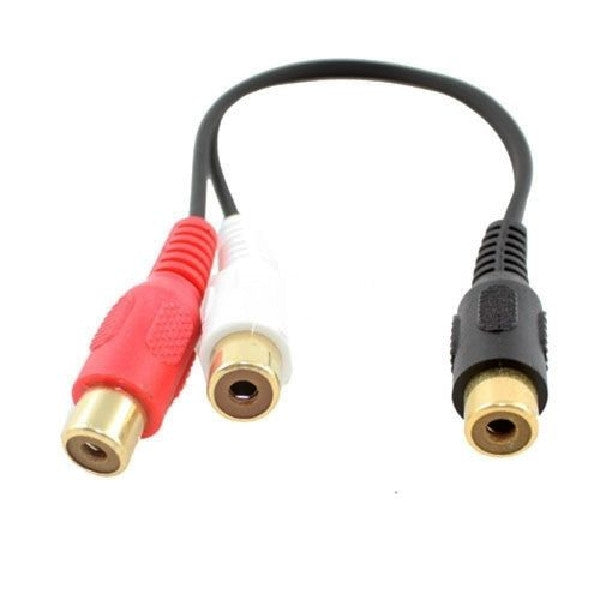 6in. TechCraft 1RCA Female to 2RCA Female Audio Y-Splitter Cable, Audio Cables & Adapters, TechCraft - TiGuyCo Plus
