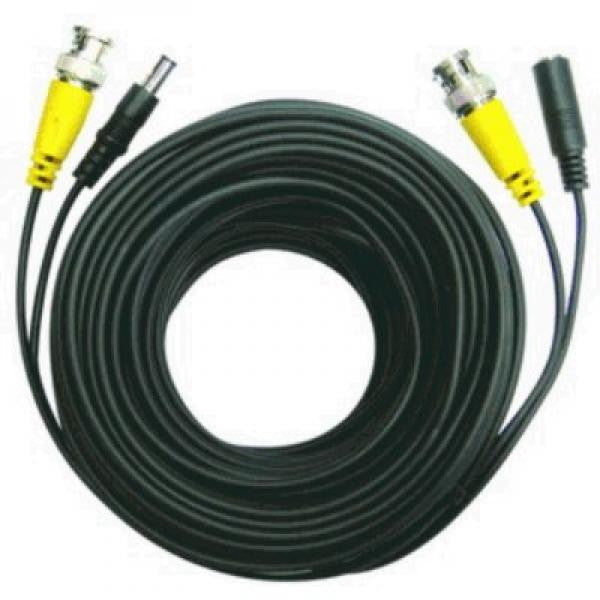 75 ft. 2-in-1 Security Camera Cable with Power - BNC -  M/DC 5.5mmx2mm - Black, Surveillance Security Systems, TechCraft - TiGuyCo Plus