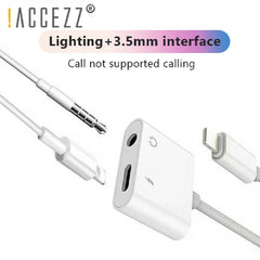 !ACCEZZ 2-in-1 3.5mm Jack AUX Splitter 8 Pin - For iphone X XS MAX XR 6 7 8 6s Plus - Lighting Charger and Listening Adapter -  White