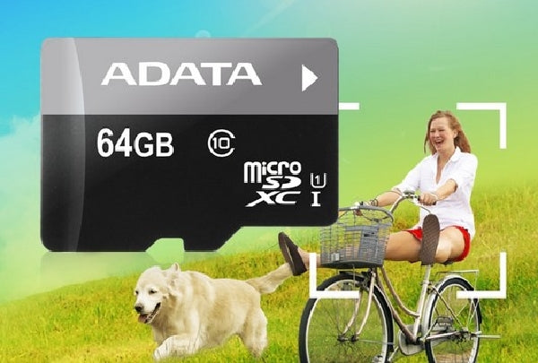 ADATA 64GB Premier microSDXC Card with Adapter - UHS-I - Class-10 - AUSDX64GUICL10-RA1, Memory Cards, ADATA - TiGuyCo Plus