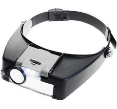Adjustable Lightweight Illuminated Head Magnifier, 4 Lens Powers 1.5X, 3X, 8.5X, 10X - Black
