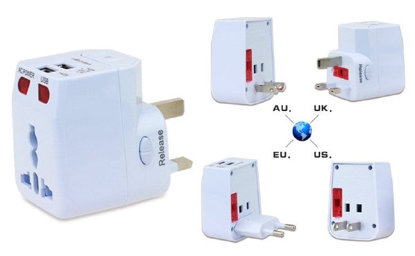 All-in-One Universal Travel Adaptor with 2 USB Ports - White, Travel Adapters & Converters, Various - TiGuyCo Plus