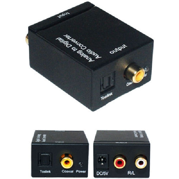 Analog 2-RCA L/R Audio to Digital Optical Coaxial Toslink Audio Converter, Converter, TGCP - TiGuyCo Plus