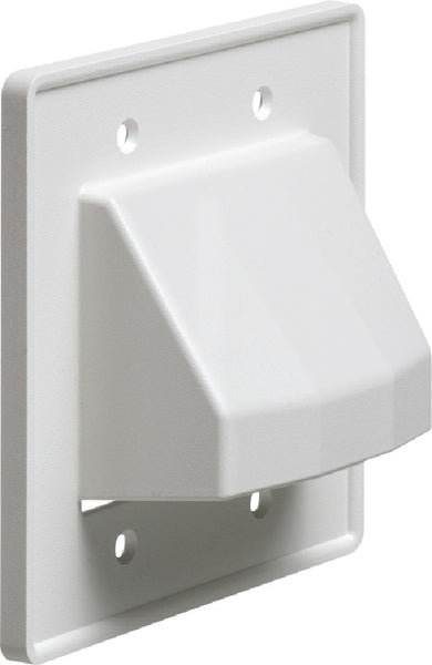 Arlington CE2-1 Recessed Low Voltage Cable Plate - 2-Gang - White - 1-Pack, Wallplates, Arlington - TiGuyCo Plus