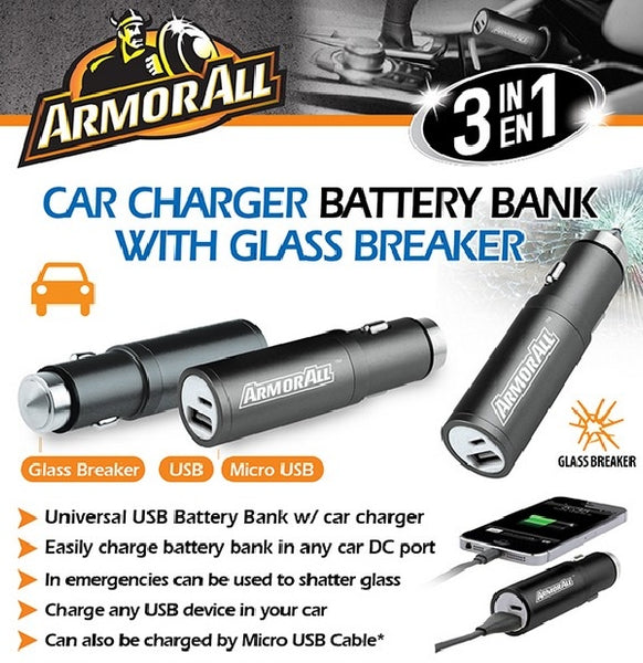 !     A     !    ArmorAll 3 in 1 Car Charger/Battery Bank with Glass Breaker - ABB8-1003-BLK, Chargers & Sync Cables, ArmorAll - TiGuyCo Plus