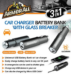 !     A     !    ArmorAll 3 in 1 Car Charger/Battery Bank with Glass Breaker - ABB8-1003-BLK