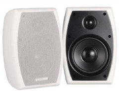 AudioSource 5.25in. (100W) Indoor-Outdoor Speakers - 2 Piece Set with Mounting Bracket - White or Black