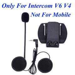 BTI V6 Boom Microphone Headset with Spare Clip - Black - Suitable for V6 V4 V2-500C Motorcycle Bluetooth Multi Interphone Headsets