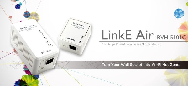 BriteView LinkE Air 500 Mbps Powerline Wireless and Extender Kit - BVH-5101C