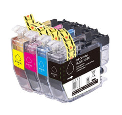 Compatible with Brother LC3013 Compatible Ink Cartridge High Yield Combo BK/C/M/Y - With Chip - Economical Box