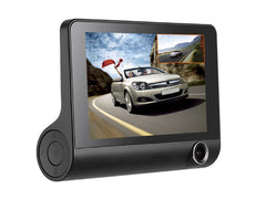 Car Dash Cam Three-way DVR Video Recorder Rearview Camera G-sensor 3 Lens 4 Inch Screen