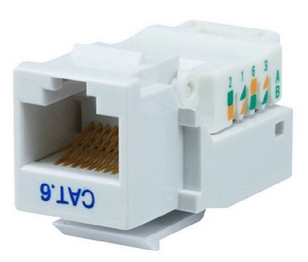 Cat6 Modular Toolless Keystone Jack - RJ-45 Female Connector - White, Cables & Adapters, TiGuyCo Plus - TiGuyCo Plus