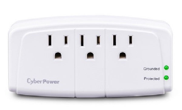 CyberPower Essential 3-Outlets Surge Suppressor Wall Tap Plug - 3 x NEMA 5-15R - 900J - 125V Input - CSB300W, Surge Protectors, Power Strips, CyberPower - TiGuyCo Plus