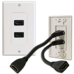 ! A ! Double HDMI Wallplate with 2 3in. Extension Flex v1.4
