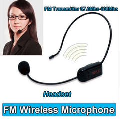 FM Wireless Microphone Headset - FM Radio Multi-Channel Micphone - Black - 104797