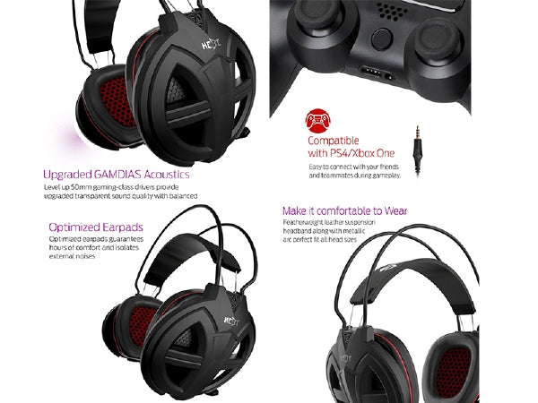 GAMDIAS HEBE V2 Gaming Headset with 3 5mm Jack, 50mm Gaming Drivers, Smart  Remote Control & Uni-Directional Mic - Black - GHS3300
