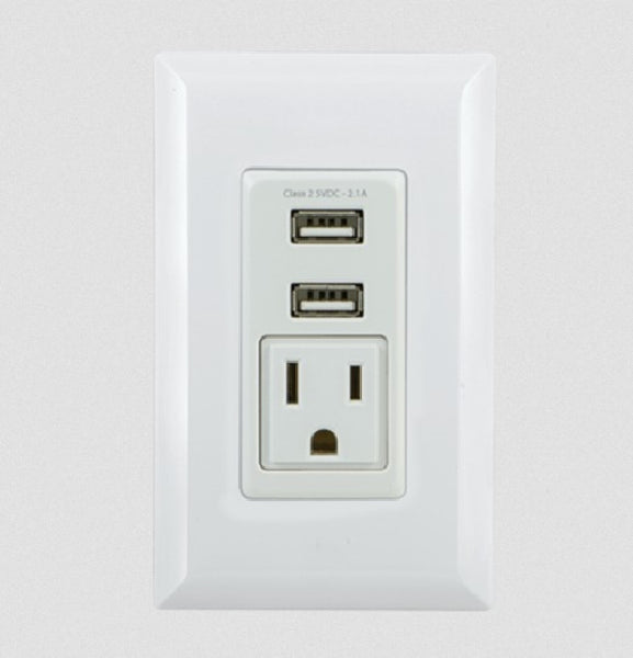GE 2 USB + 1 AC In-Wall Receptacle - White