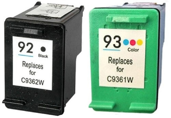 Compatible with HP 92 Black (C9362W) and HP 93 Color (C9361W) Remanufactured Ink Cartridge Combo Pack - 2 Cartridges