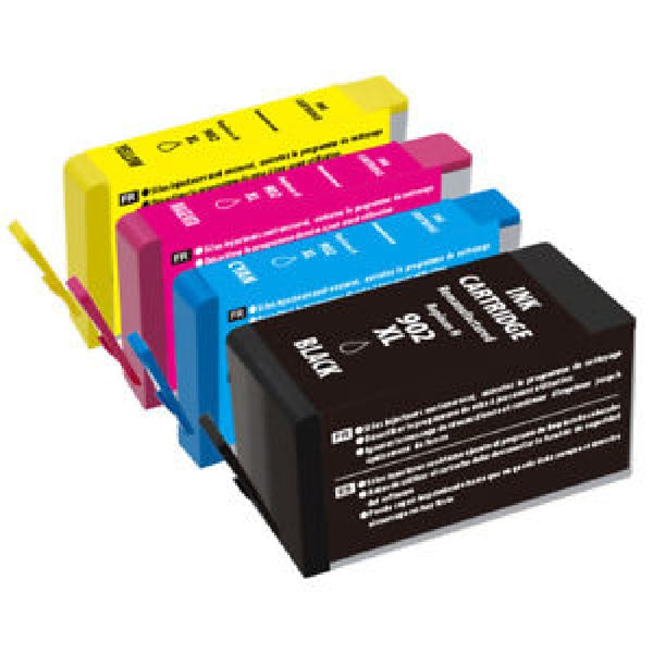 Compatible with HP 902XL Black (T614AN) and HP 902XL Cyan, Magenta, Yellow (T6MxxAN) Remanufactured Ink Cartridge - Combo Pack - 4 Cartridges