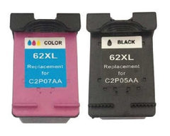 Compatible with HP 62XL Black and HP 62XL Tri-Color Remanufactured Ink Cartridge Combo Pack