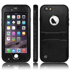 Heavy Duty Waterproof Shockproof Case Cover With Kickstand For iPhone 6 & 6S - Black