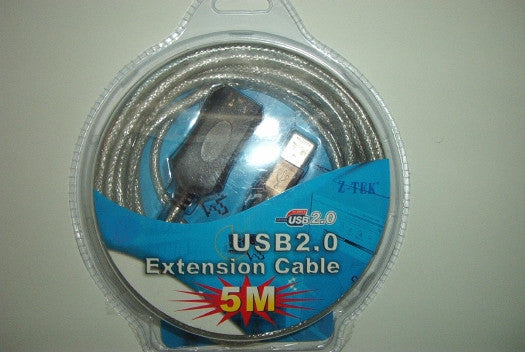 Z-TEK USB 2.0 A Male to A Female Extension Cable - 5M (16 feet) - A must for far away peripherals!, USB Cables, Hubs & Adapters, Z-TEK - TiGuyCo Plus