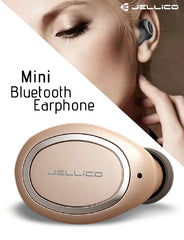 Jellico HM-200 Mini In-Ear Bluetooth Wireless Earphone For Mobile Phone - Gold