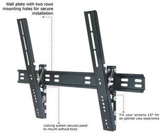 TC - 32-63in Ultra Slim TV Wall Mount - Tilt -12 to 0 degrees - VESA 625x400mm - Hold up to 132lbs (60kgs) - Black