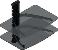 TC - Double Layers (2-Shelves) DVD Stand with Black Colored Glass