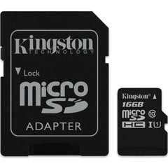 Kingston 16GB microSD High Capacity (microSDHC) - Class 10 - w-Adapter - SDCS/16GB