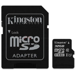 Kingston 32GB microSDHC Class 10 UHS-I 45R Flash Card with Adapter - SDC10G2/32GBCR