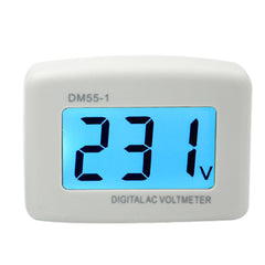 LCD Digital Voltage Tester and Voltmeter Volt Monitor - AC 80V 300V - AC Panel Meter - Blue Backlight Display - White - DM55-1