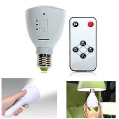 LED Rechargeable Emergency Bulb - 2-in-1 Light & Flashlight - E27 Base - 4-6 Watts - Remote Control - White