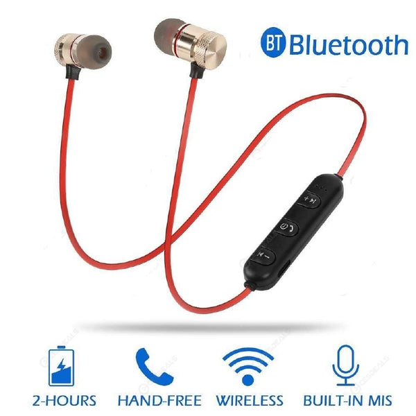 M5 Wireless Bluetooth Earphones Magnetic Attraction Headset w/Mic - Gold/Red