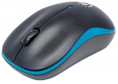 Manhattan Success Wireless Optical Mouse - USB, Three Buttons with Scroll Wheel, 1000 dpi, Blue-Black - 179416