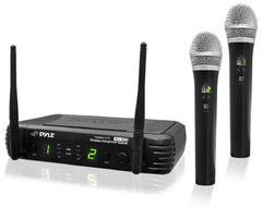 PYLE - PDWM3375 Premier Series Professional 2-Channel UHF Wireless Handheld Microphone System with Selectable Frequencies - PDWM3375