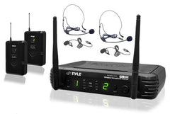 PYLE - PDWM3400 - Premier Series Professional UHF Microphone System with (2) Body-Pack Transmitters, (2) Headset & (2) Lavalier Microphones with Selectable Frequencies