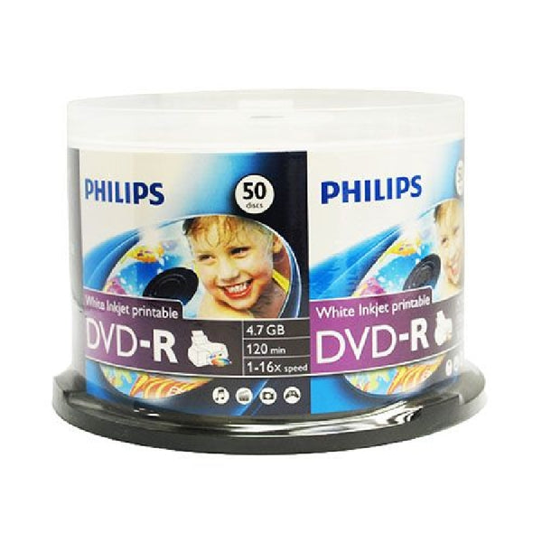 Philips DVD-R 16x 4.7GB - White Inkjet Printable - 50 Pack Cake - DM4I6B50F/17