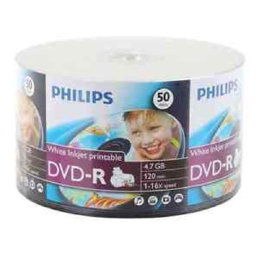 image about Ink Jet Printable Dvd referred to as Philips DVD-R 16x 4.7GB - White Inkjet Printable - 50 Pack - DM4I6U50F/17