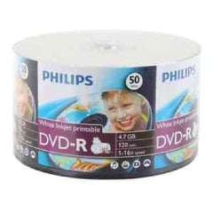 Philips DVD-R 16x 4.7GB - White Inkjet Printable - 50 Pack - DM4I6U50F/17