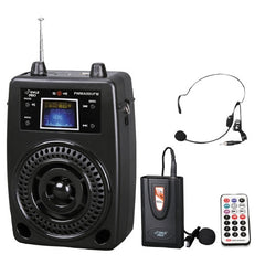 PylePro 100 Watts Portable PA System With Included Wireless Lavalier Microphone, FM Radio, MP3, USB, SD, and Aux-In and Out - PWMA80UFM