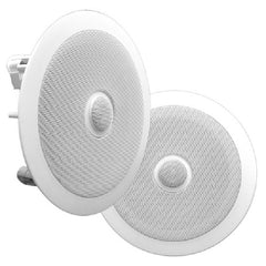 Pyle PDIC60 - 250W, 6.5in In-Wall - In-Ceiling Dual Speaker System, Directable Tweeter, 2-Way, Flush Mount, 1-Pair - White