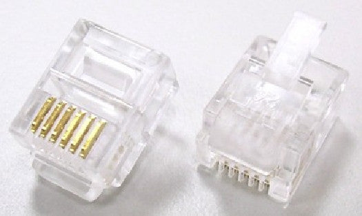 RJ12 Flat Cable Modular Plugs for Telephone Cable - (6P6C) - Clear - 10pk - ZRJ12P-10, Cables & Adapters, TechCraft - TiGuyCo Plus